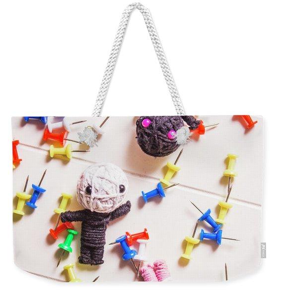 Voodoo Dolls Surrounded By Colorful Thumbtacks Weekender Tote Bag