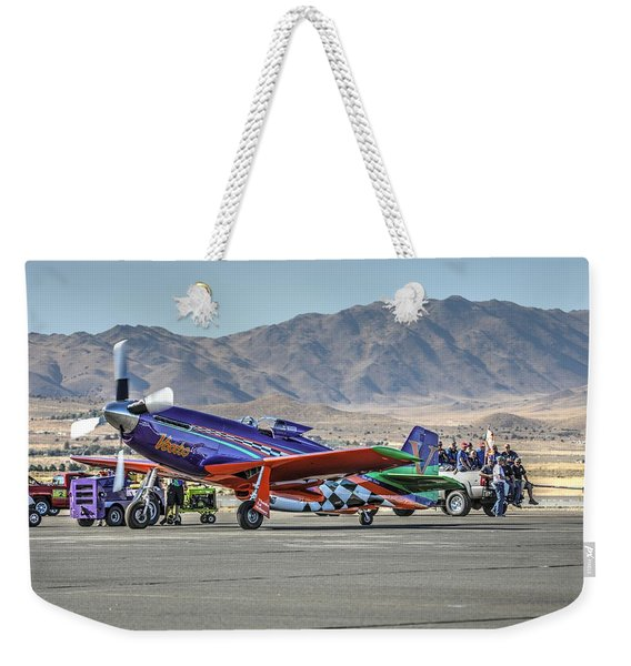 Voodoo Engine Start Sunday Gold Unlimited Reno Air Races Weekender Tote Bag