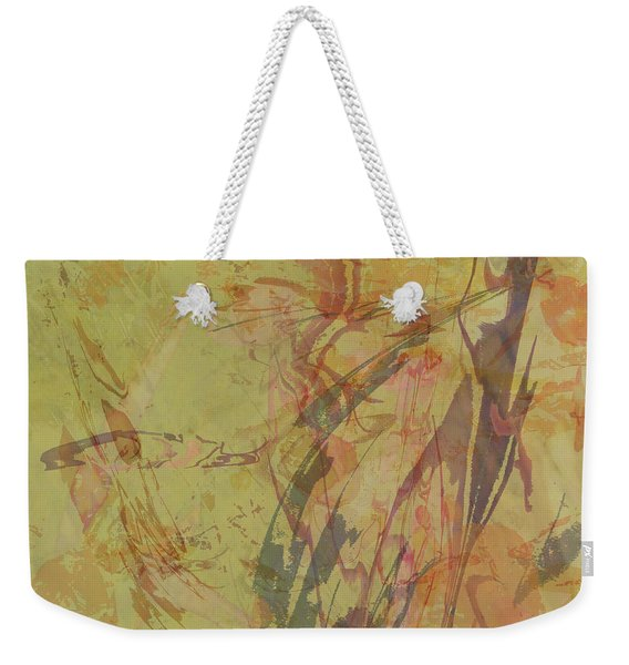 Wabi Sabi Ikebana Rose On Yellow Green Weekender Tote Bag