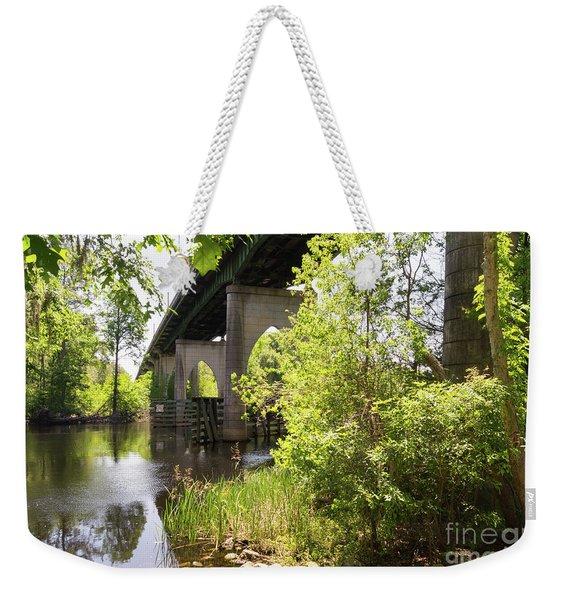 Waccamaw Memorial Bridge By The Riverbank In May Weekender Tote Bag