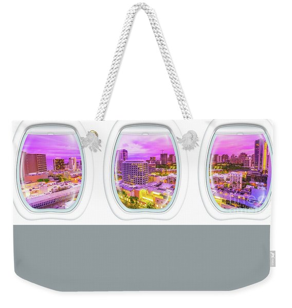 Weekender Tote Bag featuring the photograph Waikiki Porthole Windows by Benny Marty