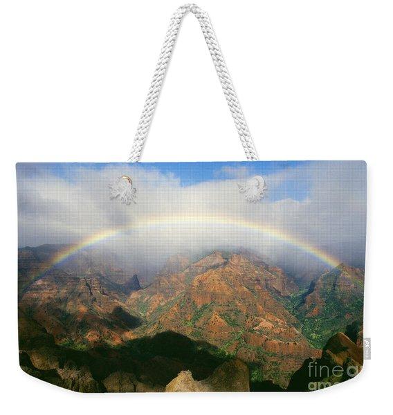 Waimea Canyon, Full Rainbow Weekender Tote Bag