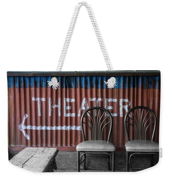 Corrugated Metal Theater Sign Weekender Tote Bag