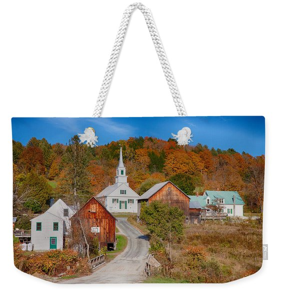 Weekender Tote Bag featuring the photograph Waits River Church In Autumn by Jeff Folger