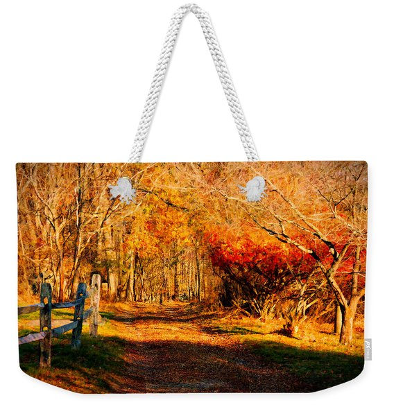 Weekender Tote Bag featuring the photograph Walking Down The Autumn Path by Jeff Folger