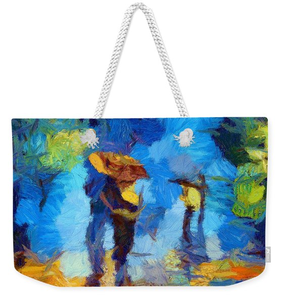 Walking In The Rain Weekender Tote Bag