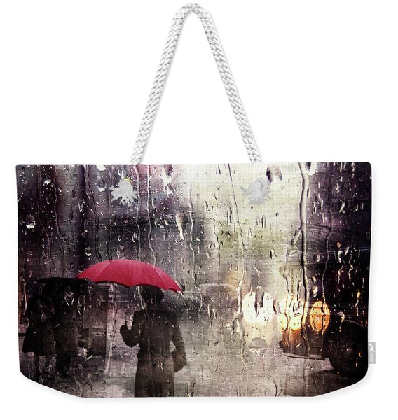 Walking In The Rain Somewhere Weekender Tote Bag