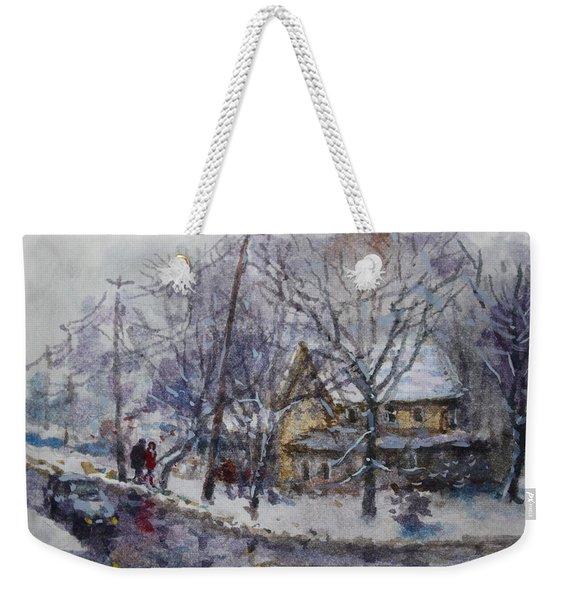 Viola And I Walking In The Winter Weekender Tote Bag