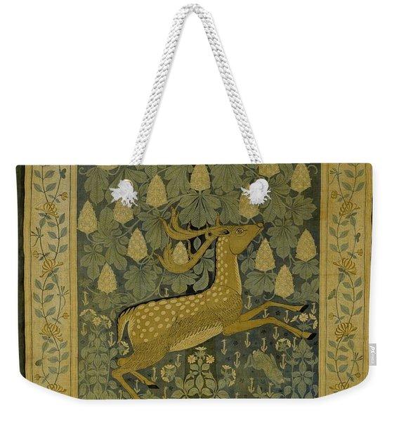 Wall Cloth With Jumping Deer Against A Background Of Flowering Chestnuts, Willem Karel Rees, C. 1902 Weekender Tote Bag