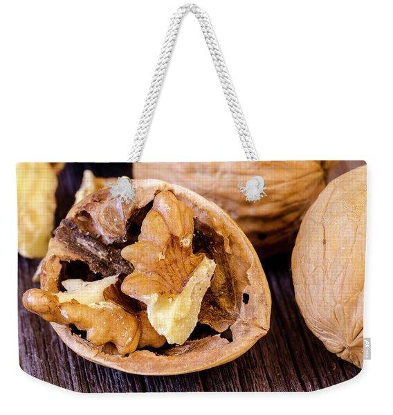Walnuts On Wooden Table Weekender Tote Bag