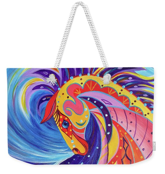 Weekender Tote Bag featuring the painting War Horse by Nancy Cupp