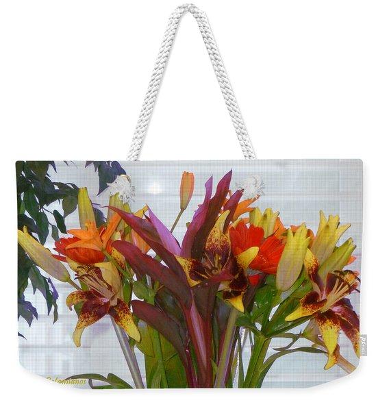 Warm Colored Flowers Weekender Tote Bag