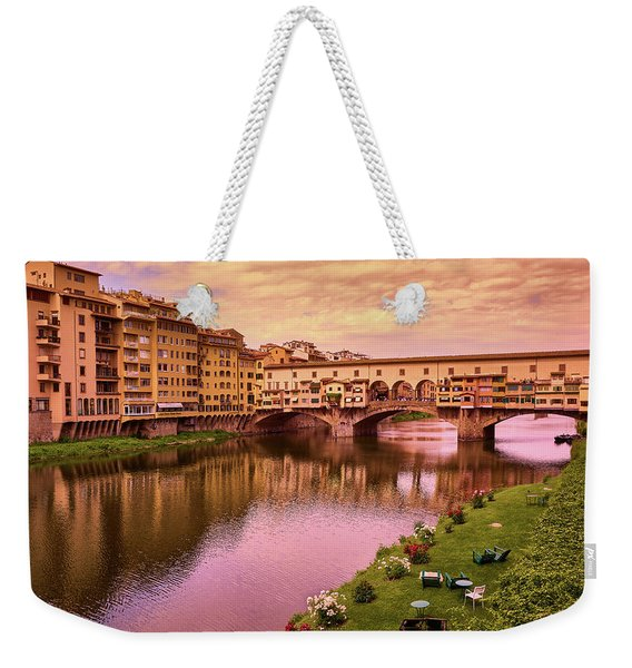 Sunset At Ponte Vecchio In Florence, Italy Weekender Tote Bag