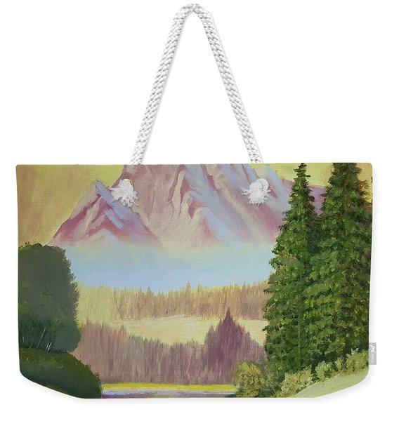 Warm Mountain Weekender Tote Bag