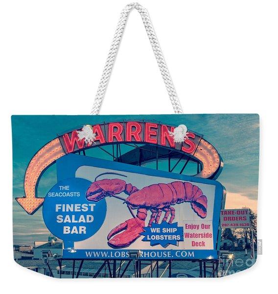 Warrens Lobster House Neon Sign Kittery Maine Weekender Tote Bag