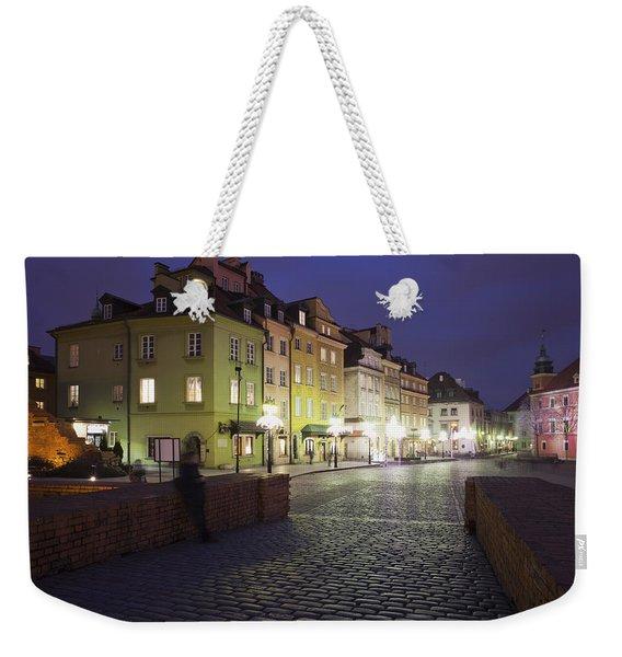 Warsaw At Night In Poland Weekender Tote Bag