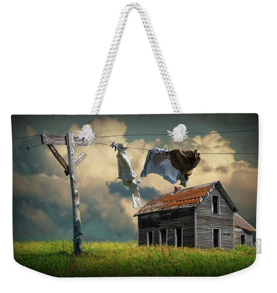 Wash On The Line By Abandoned House Weekender Tote Bag