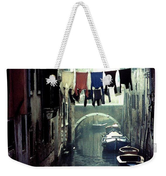 Weekender Tote Bag featuring the photograph Washday In Venice Italy by Wayne King