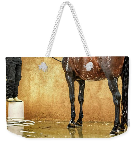 Washing A Horse Weekender Tote Bag