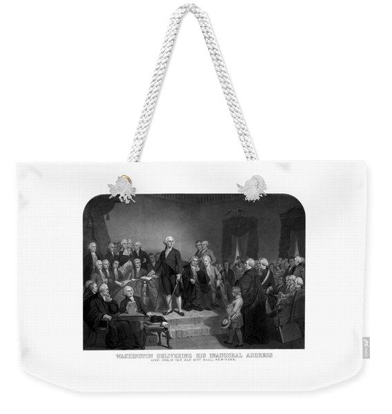 Washington Delivering His Inaugural Address Weekender Tote Bag