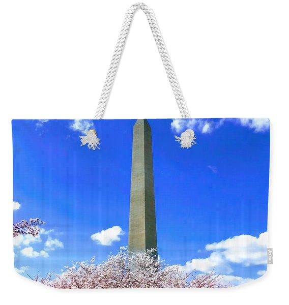Washington Monument Cherry Blossoms Weekender Tote Bag