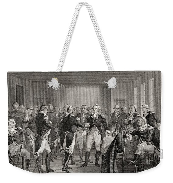 Washington Parting From His Officers At Fraunces Tavern, New York City, Usa, On December 4th 1783 Weekender Tote Bag