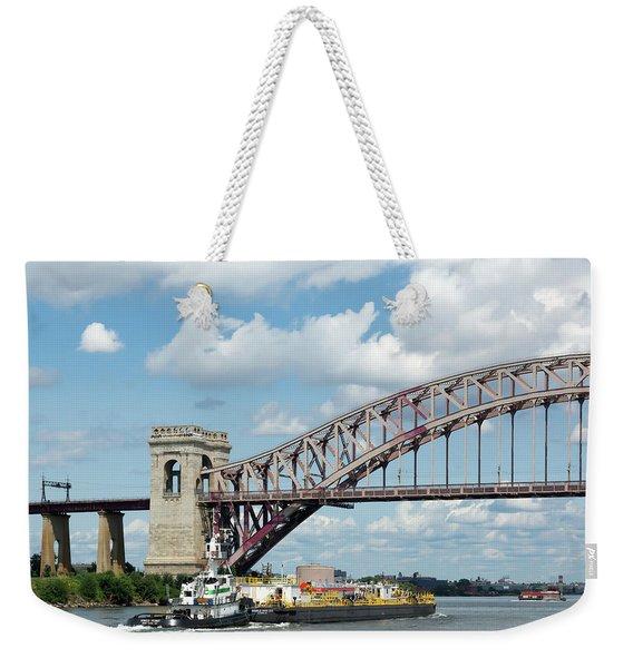 Hell Gate Bridge And Barge Weekender Tote Bag