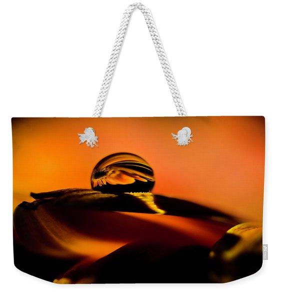 Water Drop On Orange Weekender Tote Bag