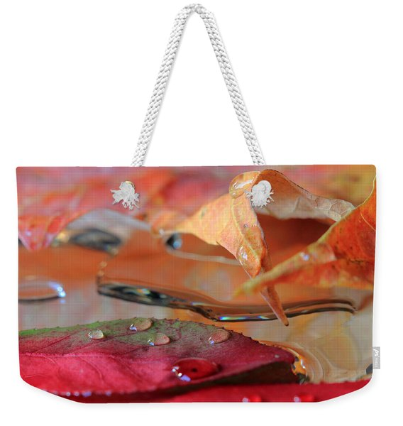 Water Drops On Autumn Leaves Weekender Tote Bag