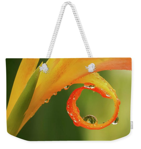 Water Drops On Canna Curl Weekender Tote Bag