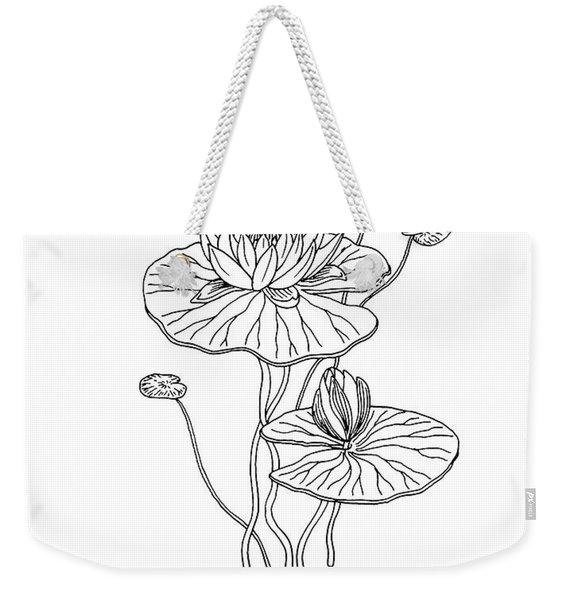 Water Lily Flower Botanical Drawing  Weekender Tote Bag