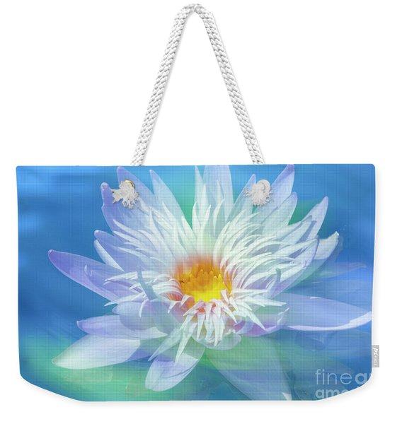 Water Lily In  Turquoise Pond Weekender Tote Bag