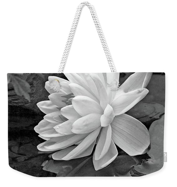 Water Lily Reflections In Black And White Weekender Tote Bag