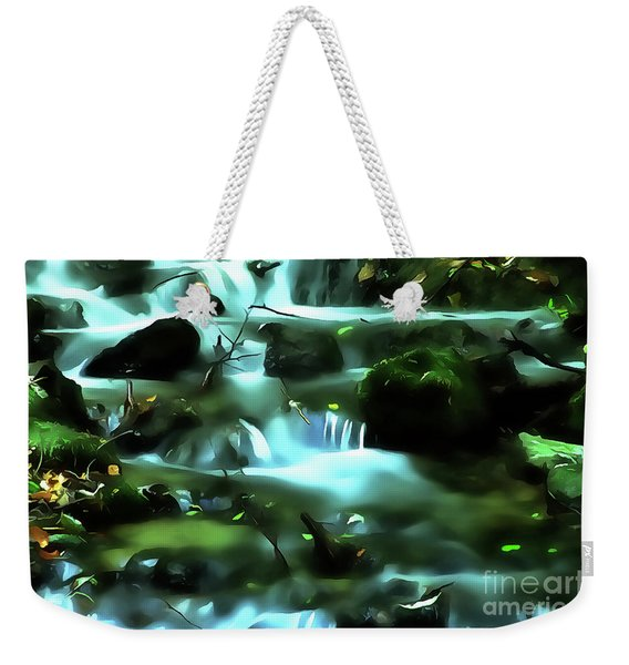 Water Rushing By A Rock In A River Weekender Tote Bag