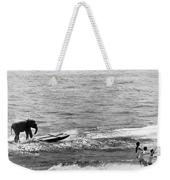 Water Skiing Elephant Weekender Tote Bag
