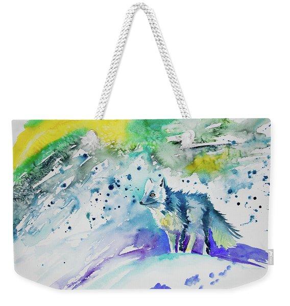 Watercolor - Arctic Fox Weekender Tote Bag