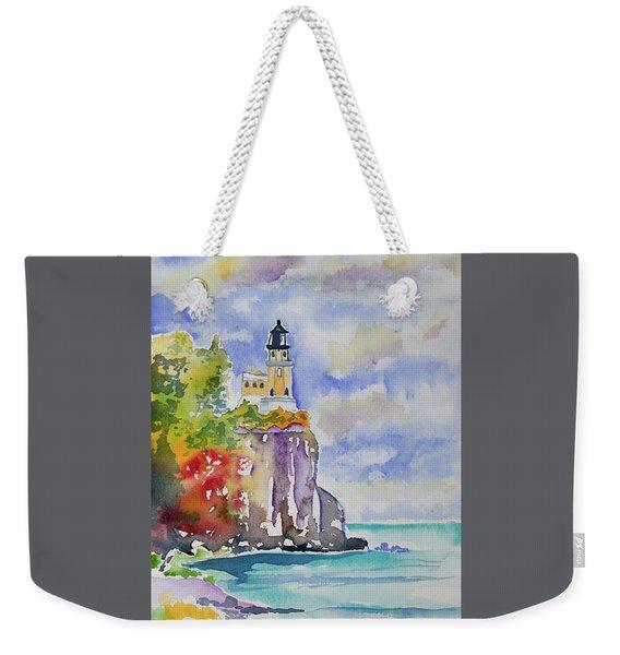 Watercolor - Autumn At Split Rock Lighthouse Weekender Tote Bag