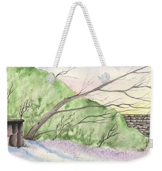 Watercolor Barn Weekender Tote Bag