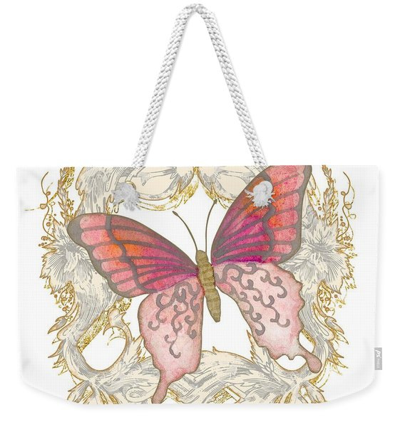 Watercolor Butterfly With Vintage Swirl Scroll Flourishes Weekender Tote Bag