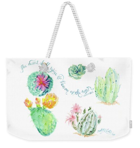 Desert In Bloom 1, Watercolor Desert Cacti N Succulents Inspirational Verse Weekender Tote Bag