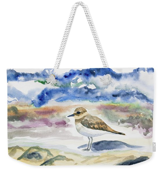 Watercolor - Double-banded Plover On The Beach Weekender Tote Bag