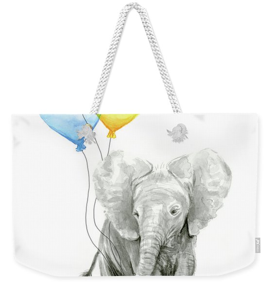 Watercolor Elephant With Heart Shaped Balloons Weekender Tote Bag