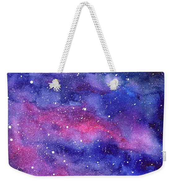 Watercolor Galaxy Pink Nebula Weekender Tote Bag