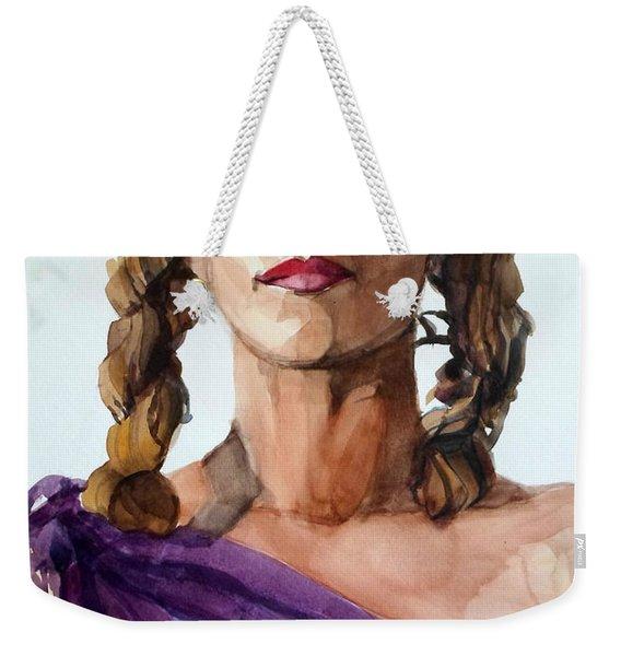 Portrait In Watercolor Of A Brooklyn Queen Weekender Tote Bag