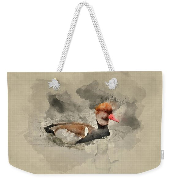 Watercolor Painting Of Beautiful Portrait Of Red Crested Pochard Weekender Tote Bag