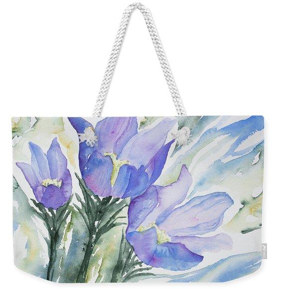 Watercolor - Pasque Flowers Weekender Tote Bag