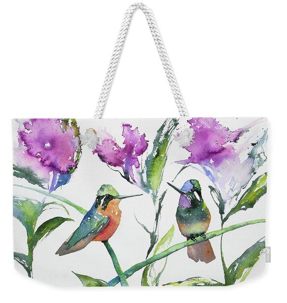 Watercolor - Purple-throated Mountain Gems And Flowers Weekender Tote Bag