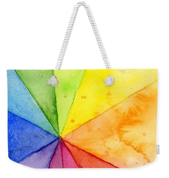 Watercolor Rainbow Beachball Pattern Weekender Tote Bag