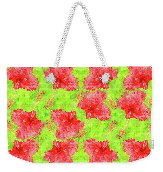 Watercolor Red Hibiscus Tropical Aloha Botanical Weekender Tote Bag