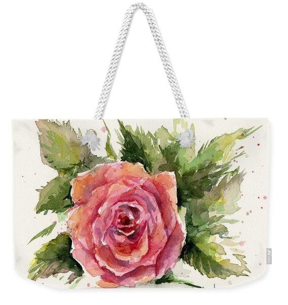 Watercolor Rose Weekender Tote Bag